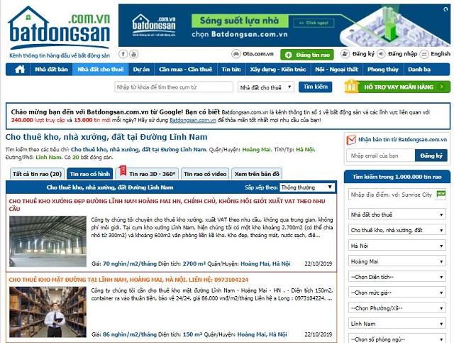 Tổng hợp website cho thuê kho xưởng khu vực Lĩnh Nam